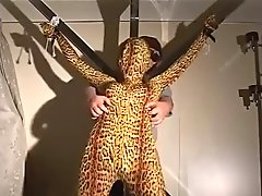 zentai bondage and blowjob