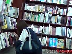 Japanese amateur babes flashing panties for voyeur