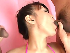 On her knees with wo cocks to blow - Asuka Ayanami in double blowjob - More at Slurpjp.com